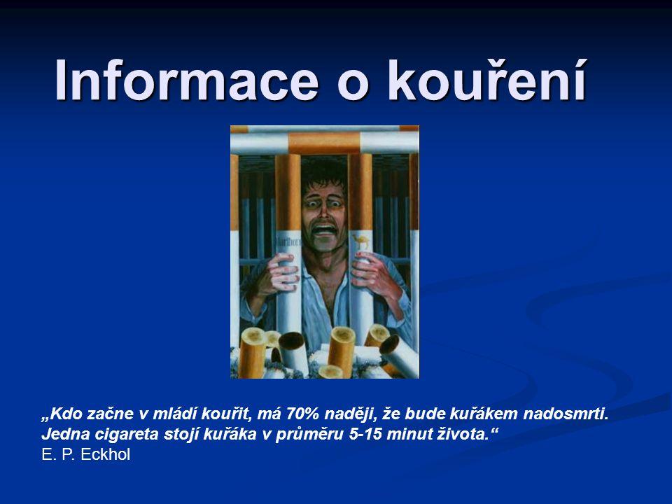 """Informace o kouření """"Kdo začne v mládí kouřit, má 70% naději, že bude kuřákem nadosmrti."""