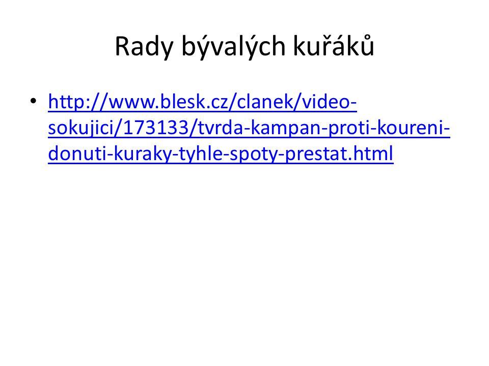 Rady bývalých kuřáků http://www.blesk.cz/clanek/video-sokujici/173133/tvrda-kampan-proti-koureni-donuti-kuraky-tyhle-spoty-prestat.html.