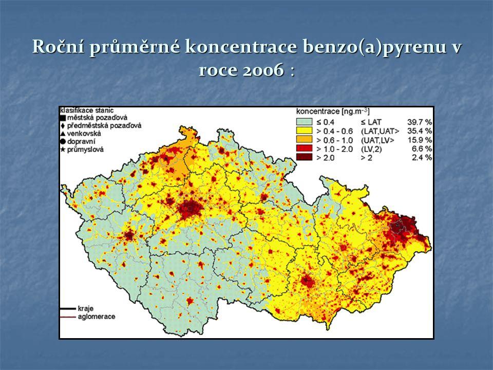 Roční průměrné koncentrace benzo(a)pyrenu v roce 2006 :