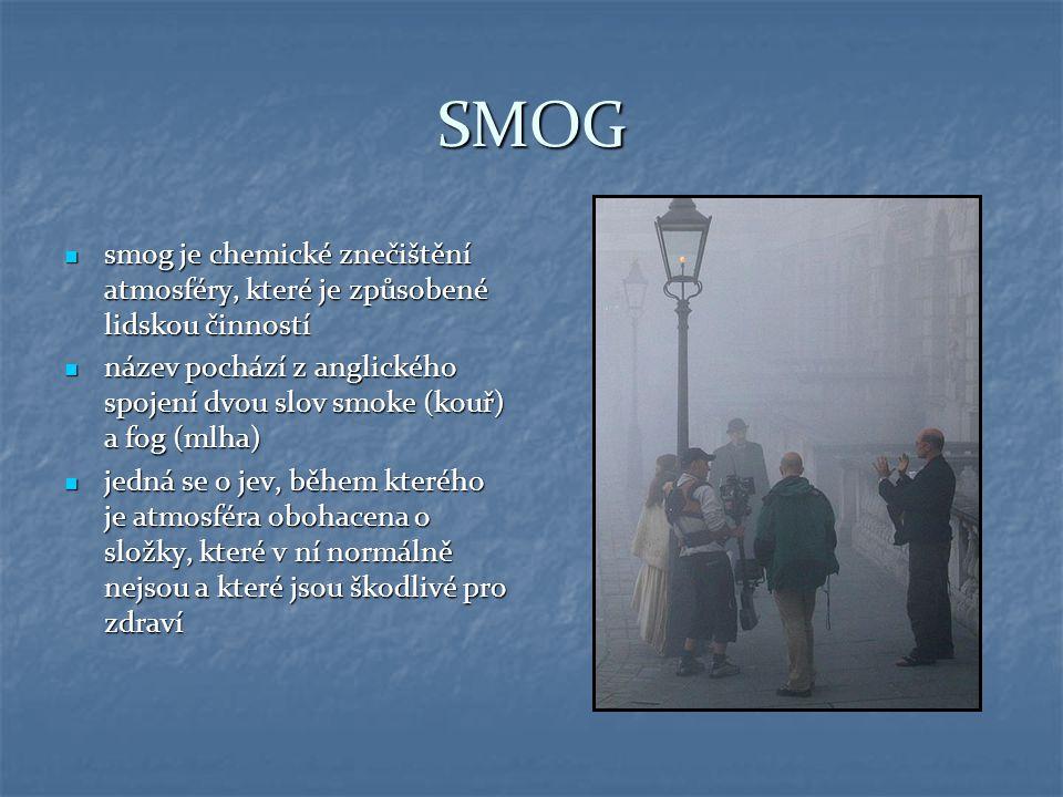 SMOG smog je chemické znečištění atmosféry, které je způsobené lidskou činností.