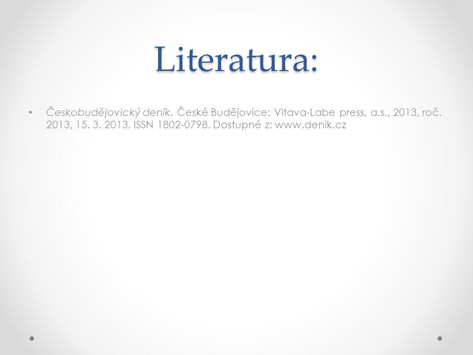 Literatura: Českobudějovický deník. České Budějovice: Vltava-Labe press, a.s., 2013, roč.