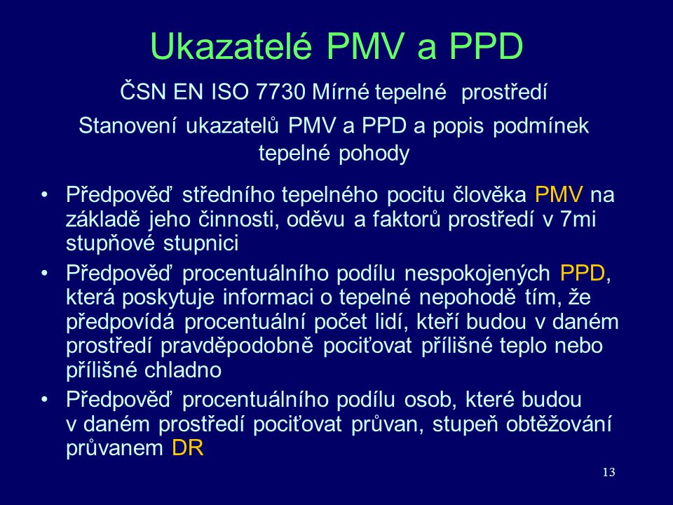 Ukazatelé PMV a PPD ČSN EN ISO 7730 Mírné tepelné prostředí