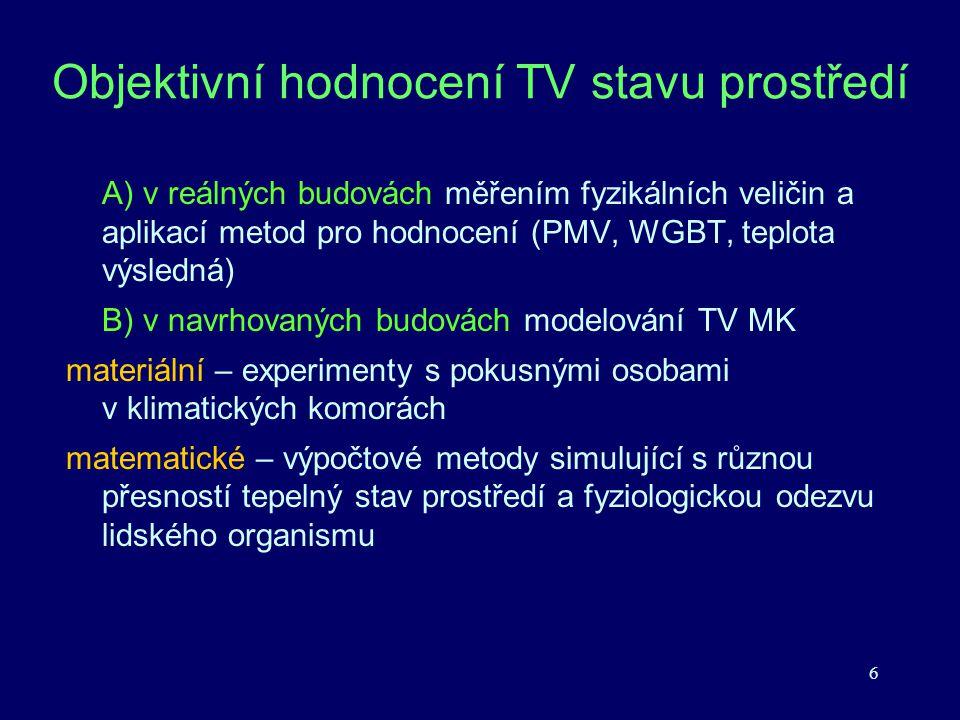Objektivní hodnocení TV stavu prostředí