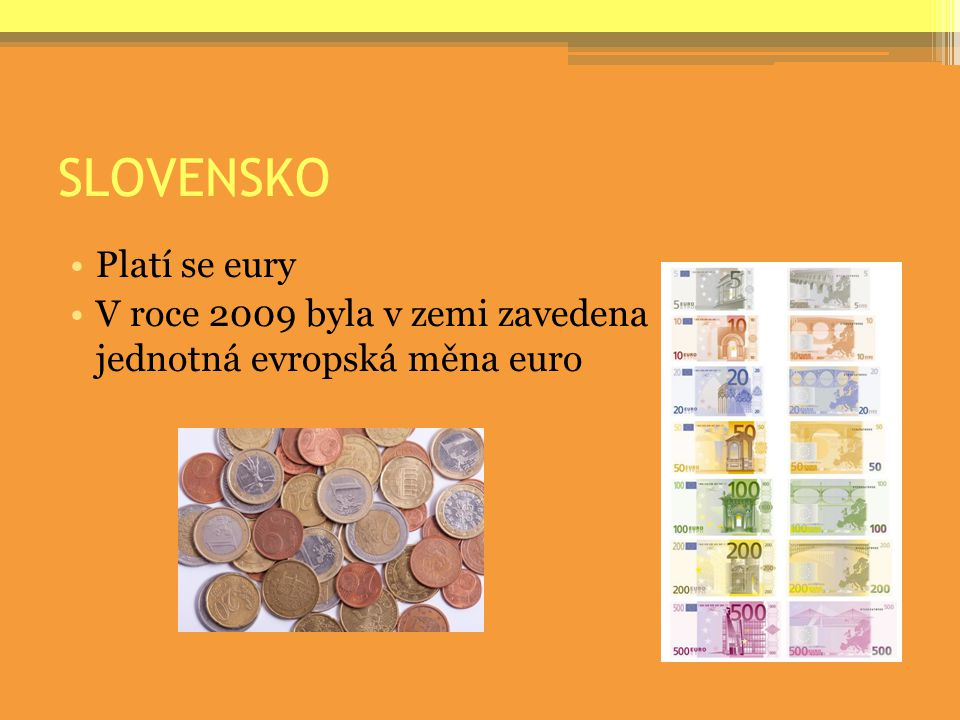 SLOVENSKO Platí se eury