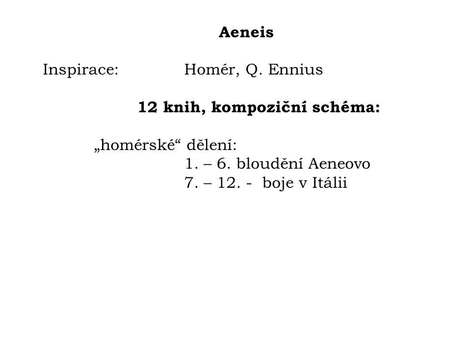 """Aeneis Inspirace: Homér, Q. Ennius. 12 knih, kompoziční schéma: """"homérské dělení: 1. – 6. bloudění Aeneovo."""