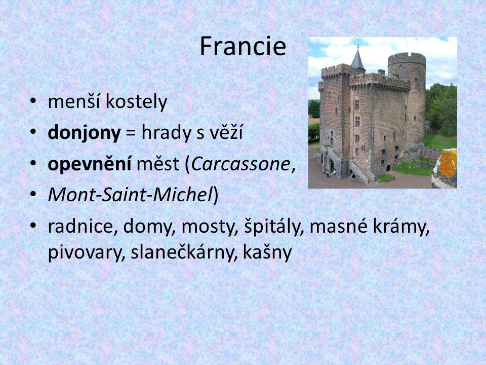 Francie menší kostely donjony = hrady s věží