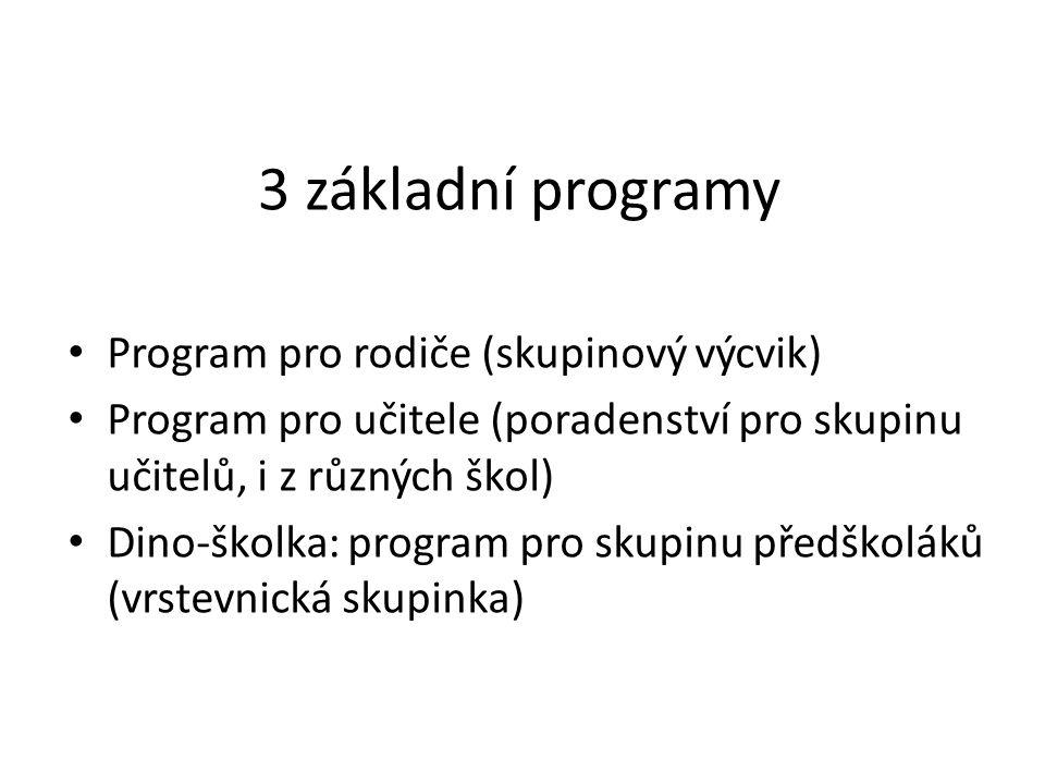 3 základní programy Program pro rodiče (skupinový výcvik)