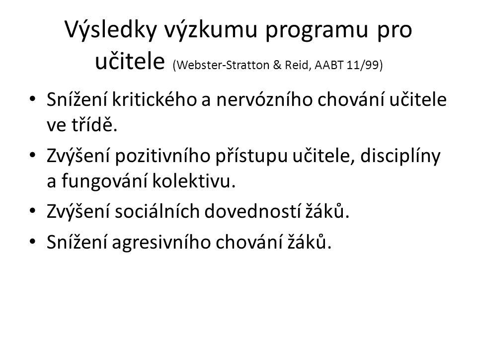 Výsledky výzkumu programu pro učitele (Webster-Stratton & Reid, AABT 11/99)