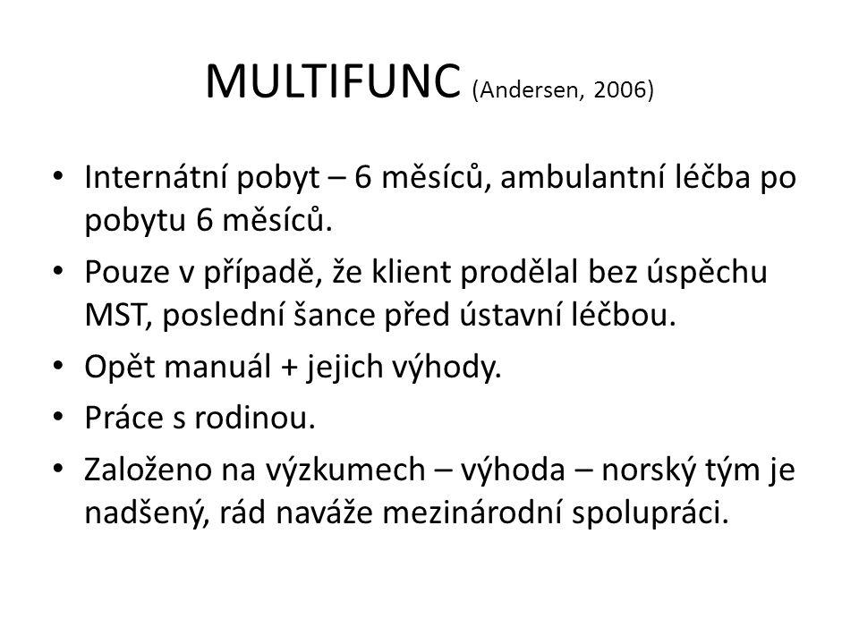 MULTIFUNC (Andersen, 2006) Internátní pobyt – 6 měsíců, ambulantní léčba po pobytu 6 měsíců.