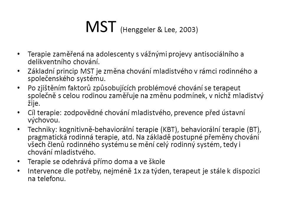 MST (Henggeler & Lee, 2003) Terapie zaměřená na adolescenty s vážnými projevy antisociálního a delikventního chování.