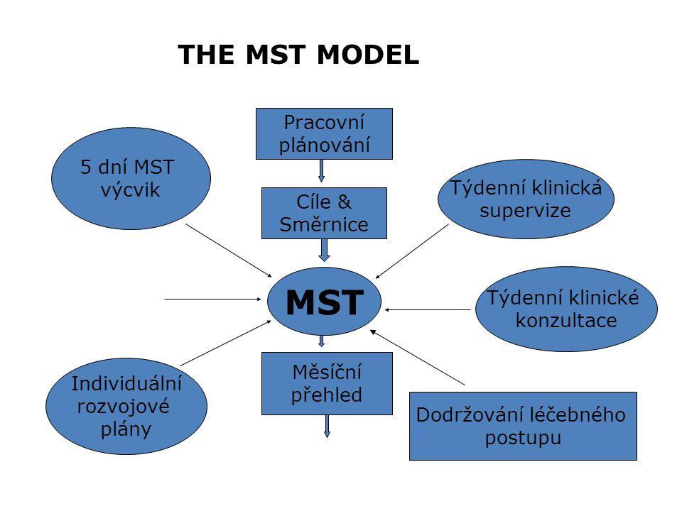 MST THE MST MODEL Pracovní plánování 5 dní MST výcvik Týdenní klinická