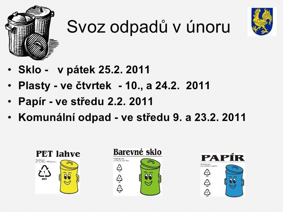 Svoz odpadů v únoru Sklo - v pátek 25.2. 2011