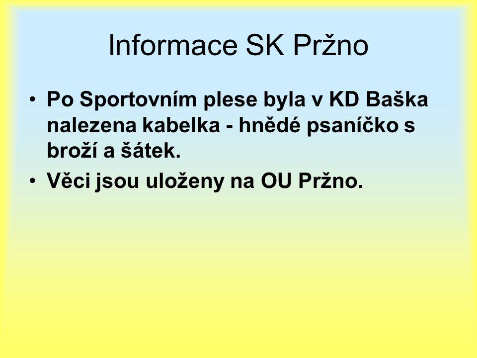 Informace SK Pržno Po Sportovním plese byla v KD Baška nalezena kabelka - hnědé psaníčko s broží a šátek.