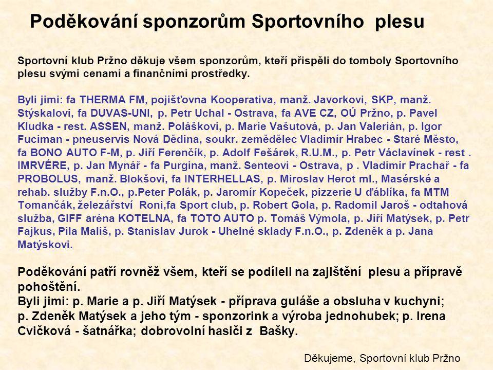 Poděkování sponzorům Sportovního plesu