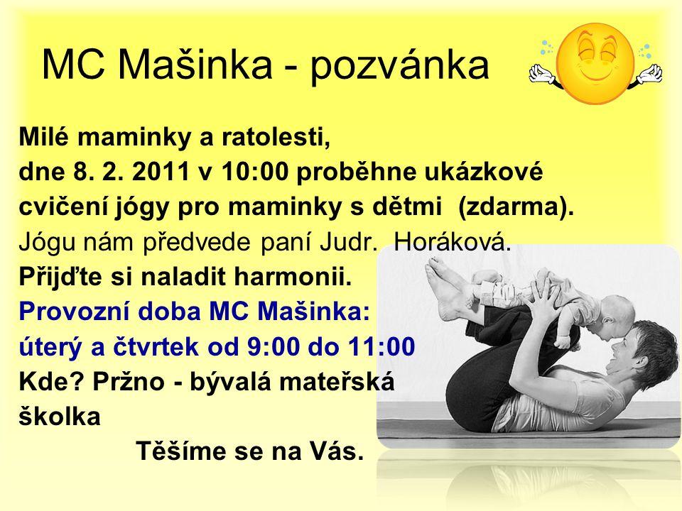 MC Mašinka - pozvánka Milé maminky a ratolesti,
