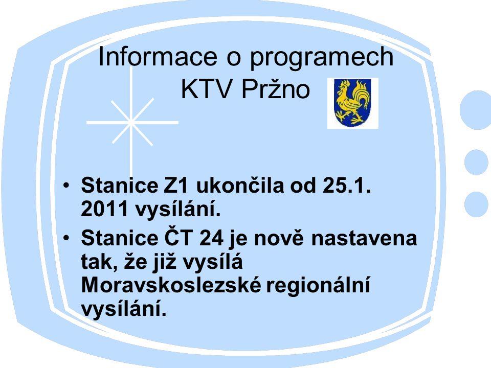 Informace o programech KTV Pržno