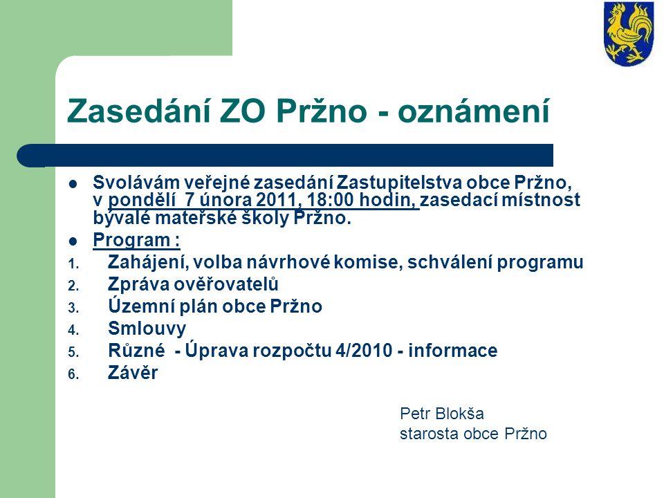 Zasedání ZO Pržno - oznámení