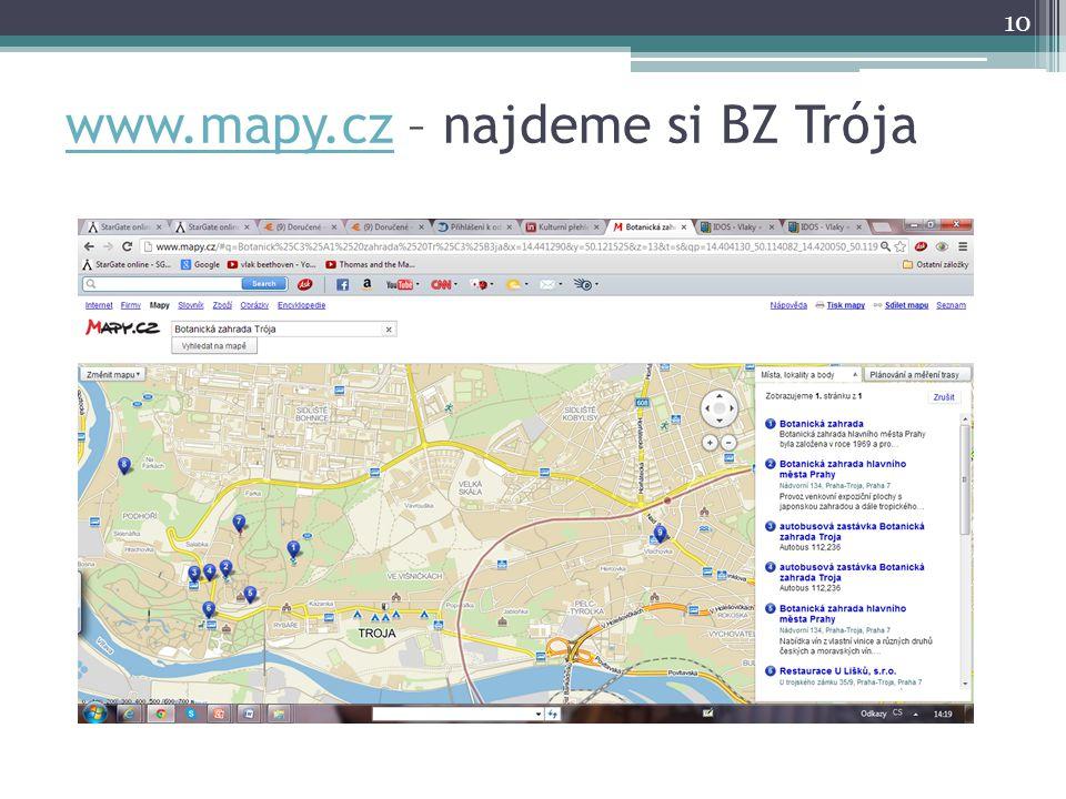 www.mapy.cz – najdeme si BZ Trója