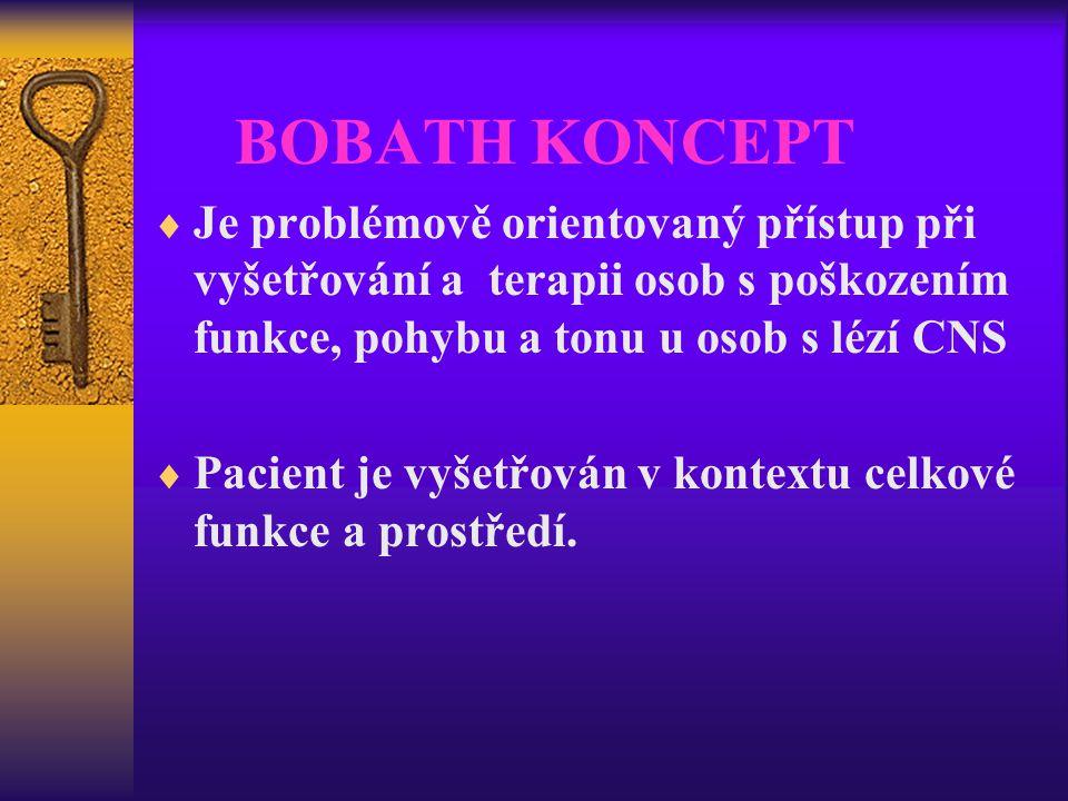 BOBATH KONCEPT Je problémově orientovaný přístup při vyšetřování a terapii osob s poškozením funkce, pohybu a tonu u osob s lézí CNS.