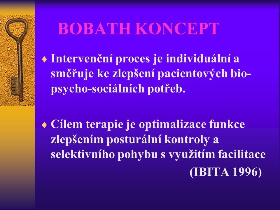 BOBATH KONCEPT Intervenční proces je individuální a směřuje ke zlepšení pacientových bio-psycho-sociálních potřeb.