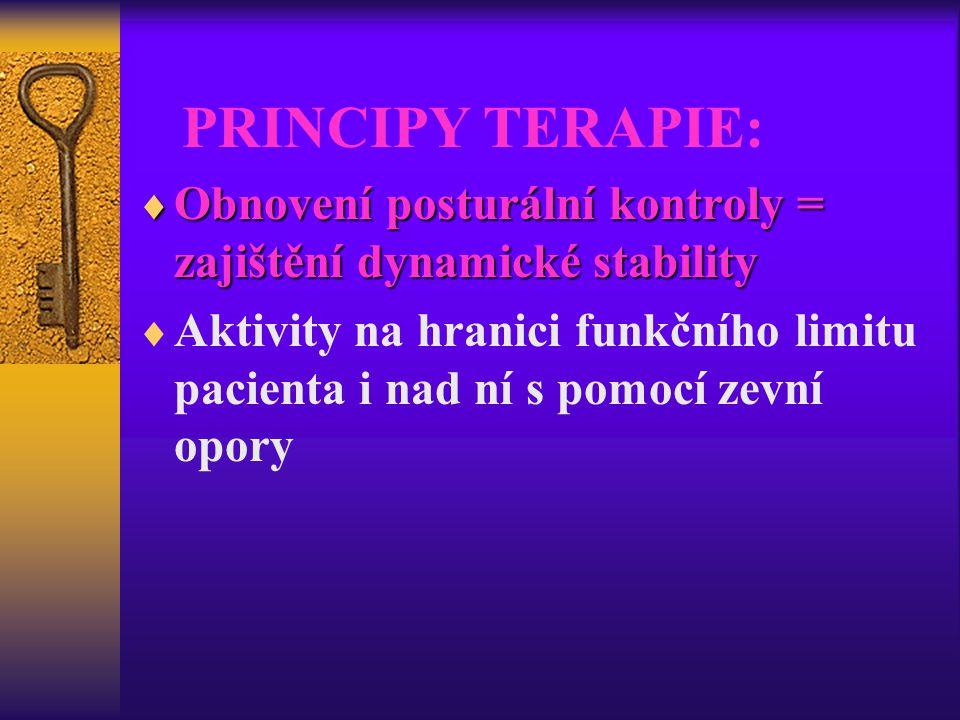 PRINCIPY TERAPIE: Obnovení posturální kontroly = zajištění dynamické stability.