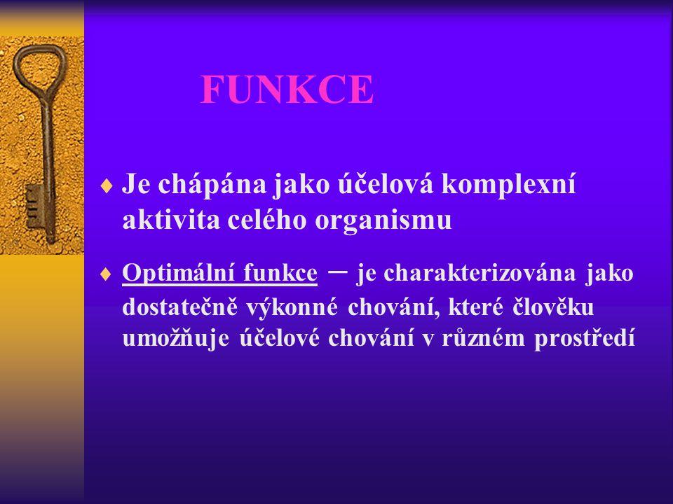 FUNKCE Je chápána jako účelová komplexní aktivita celého organismu