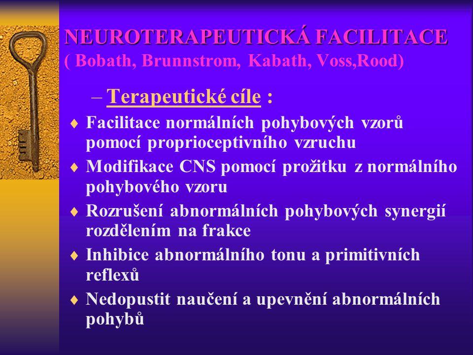 NEUROTERAPEUTICKÁ FACILITACE ( Bobath, Brunnstrom, Kabath, Voss,Rood)
