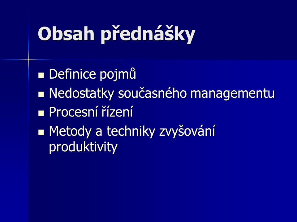Obsah přednášky Definice pojmů Nedostatky současného managementu
