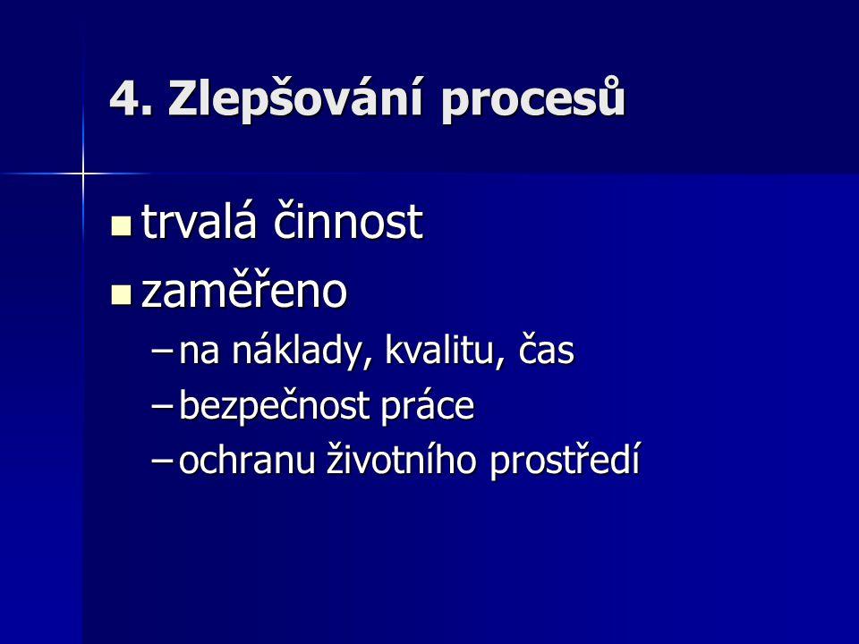 4. Zlepšování procesů trvalá činnost zaměřeno na náklady, kvalitu, čas