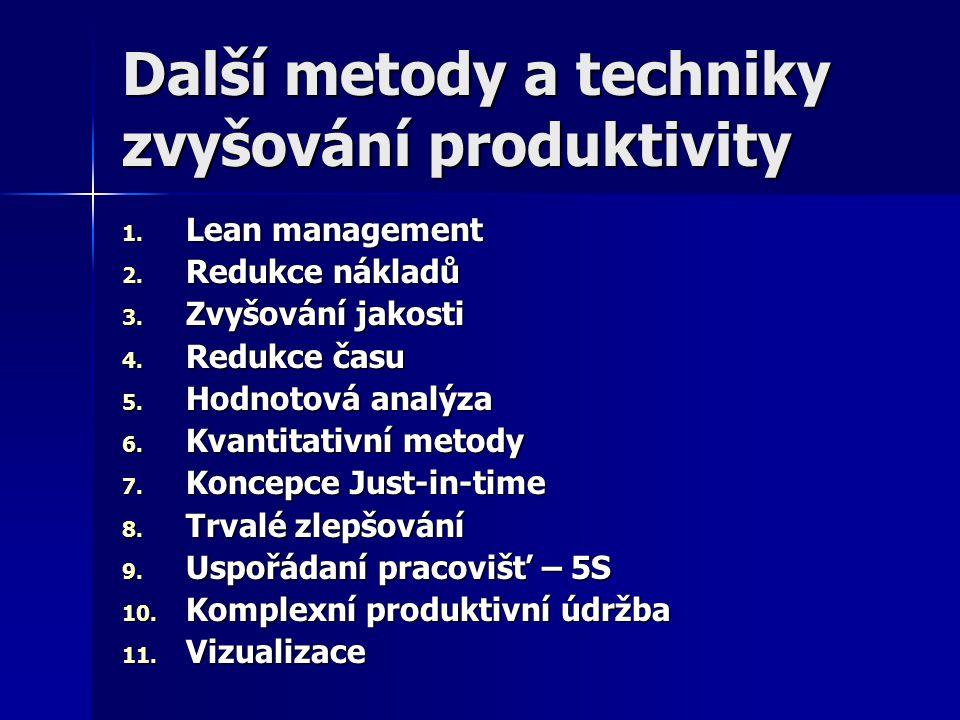 Další metody a techniky zvyšování produktivity