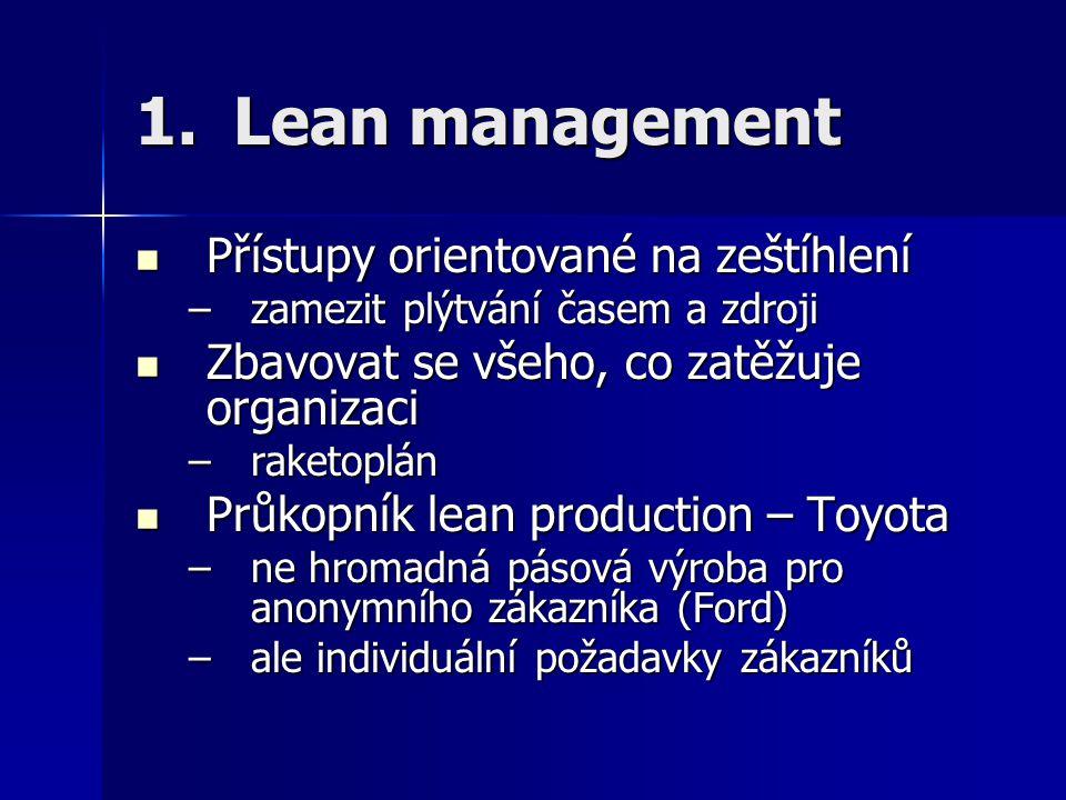 Lean management Přístupy orientované na zeštíhlení