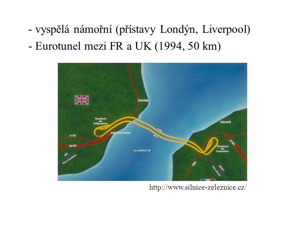 - vyspělá námořní (přístavy Londýn, Liverpool) - Eurotunel mezi FR a UK (1994, 50 km)