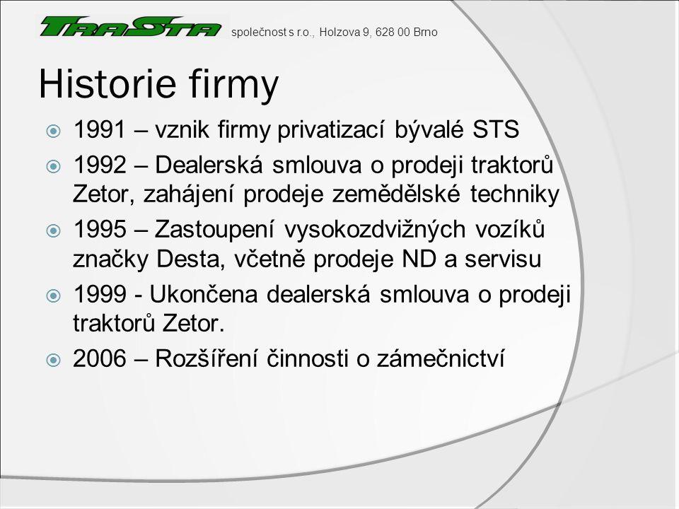 Historie firmy 1991 – vznik firmy privatizací bývalé STS