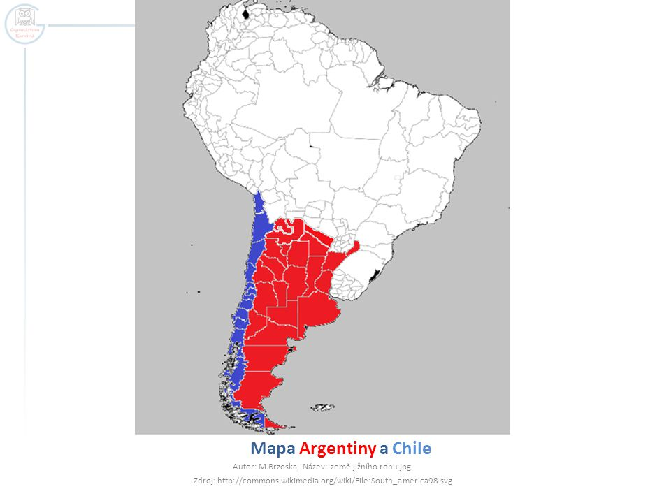 Mapa Argentiny a Chile Autor: M.Brzoska, Název: země jižního rohu.jpg