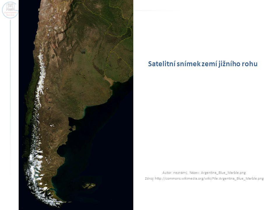 Satelitní snímek zemí jižního rohu