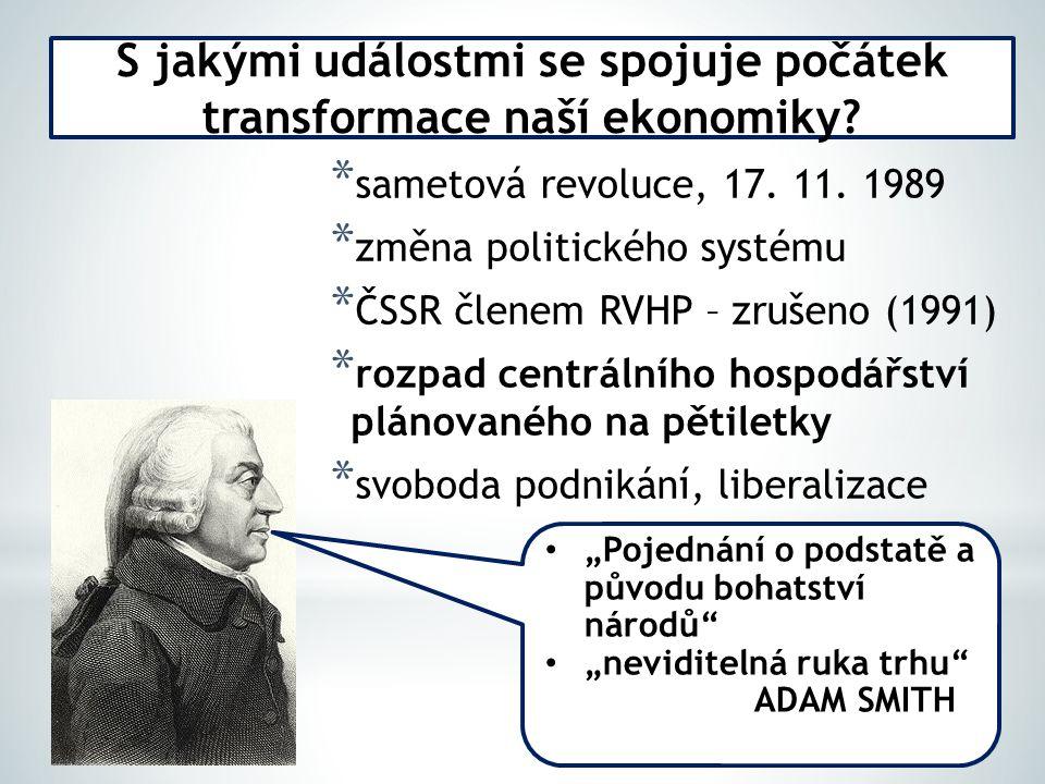 S jakými událostmi se spojuje počátek transformace naší ekonomiky