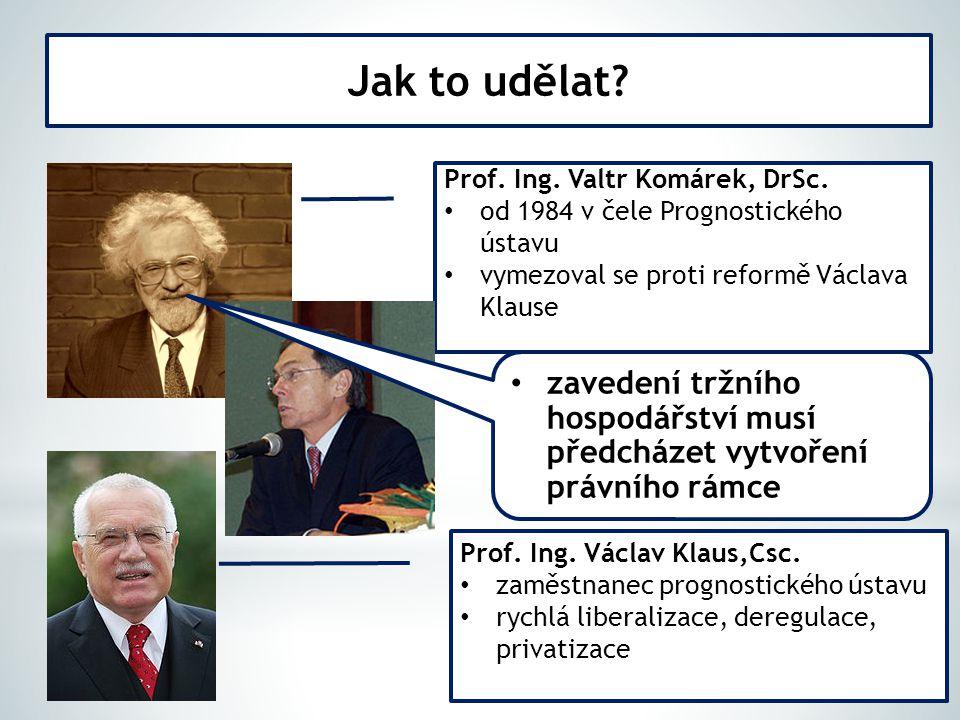 Jak to udělat Prof. Ing. Valtr Komárek, DrSc. od 1984 v čele Prognostického ústavu. vymezoval se proti reformě Václava Klause.