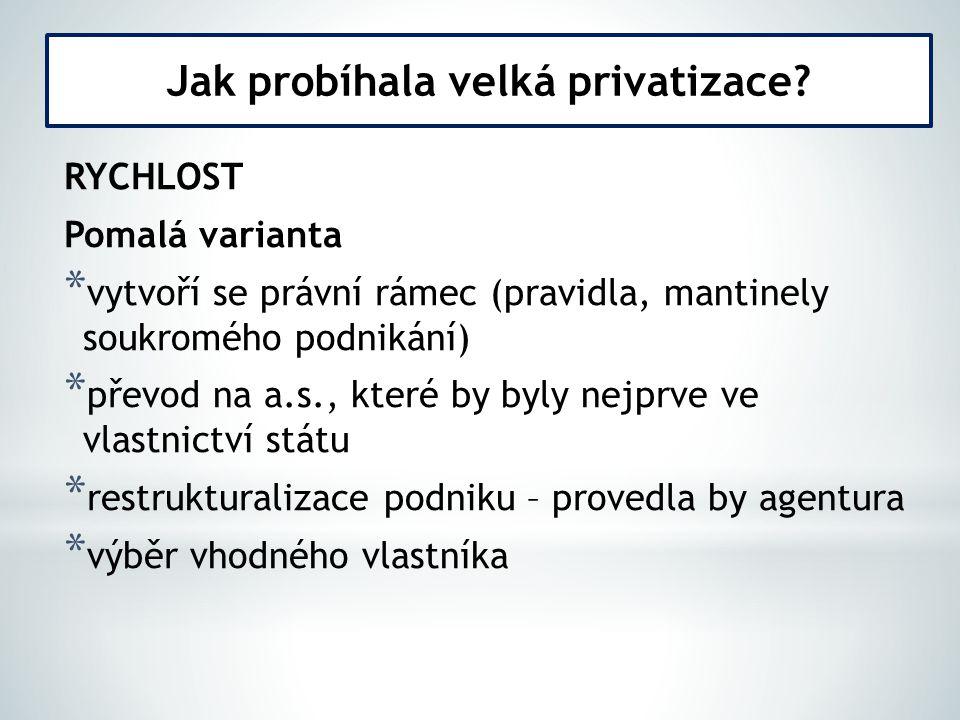 Jak probíhala velká privatizace