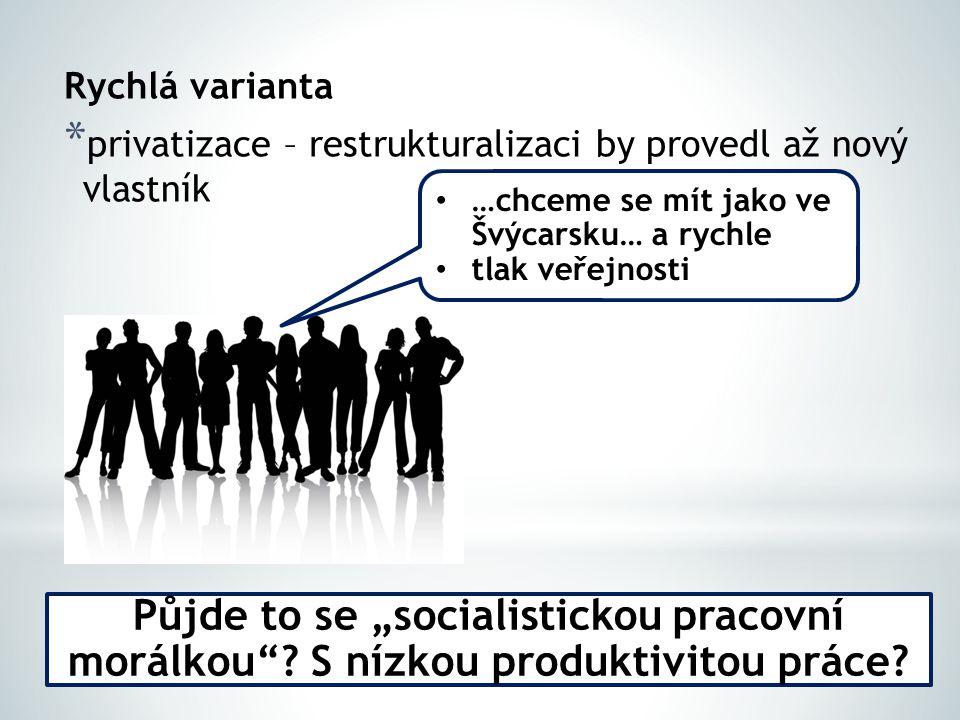 Rychlá varianta privatizace – restrukturalizaci by provedl až nový vlastník. …chceme se mít jako ve Švýcarsku… a rychle.