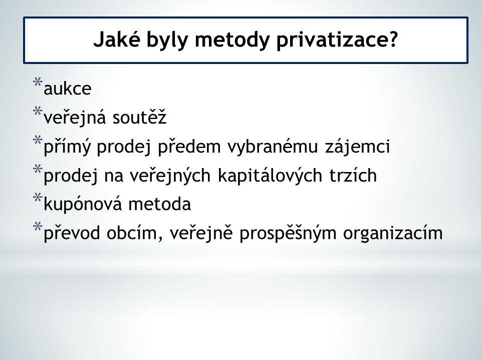 Jaké byly metody privatizace