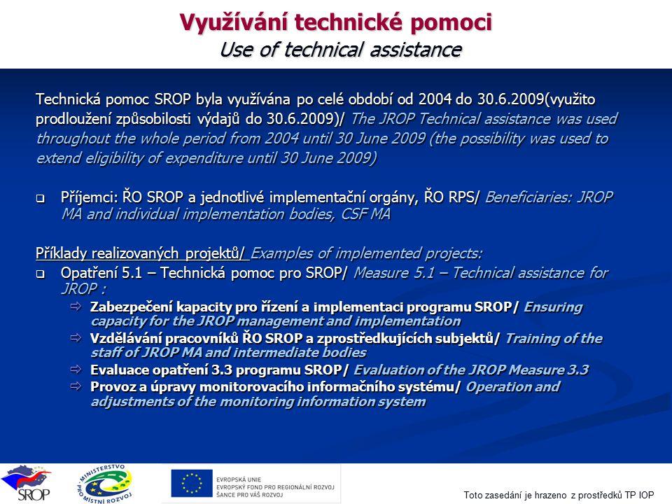 Využívání technické pomoci Use of technical assistance