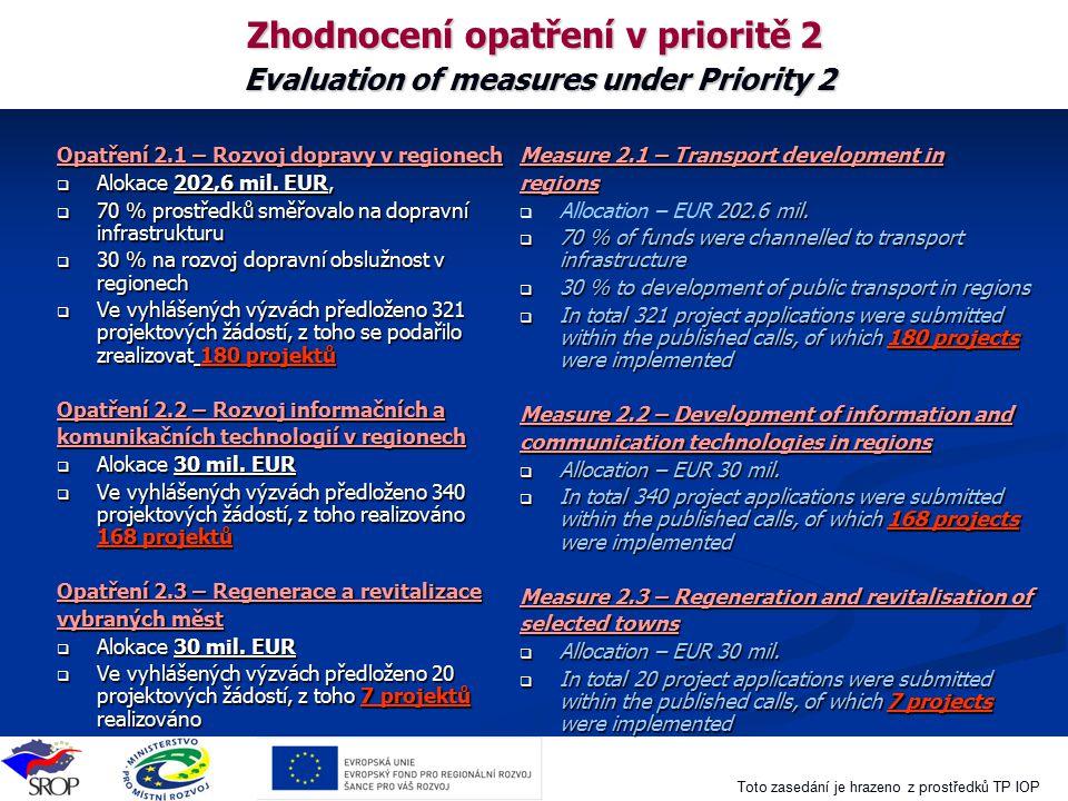 Zhodnocení opatření v prioritě 2 Evaluation of measures under Priority 2