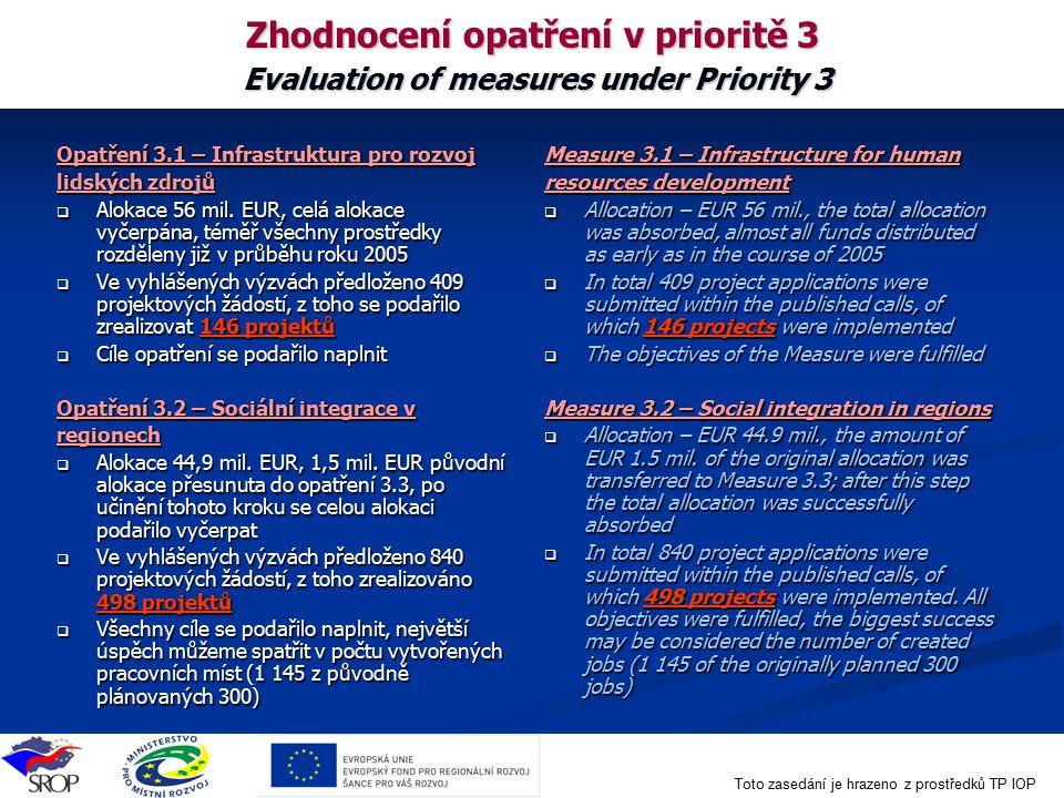 Zhodnocení opatření v prioritě 3 Evaluation of measures under Priority 3