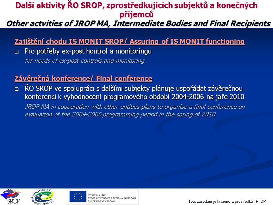 Další aktivity ŘO SROP, zprostředkujících subjektů a konečných příjemců Other actvities of JROP MA, Intermediate Bodies and Final Recipients
