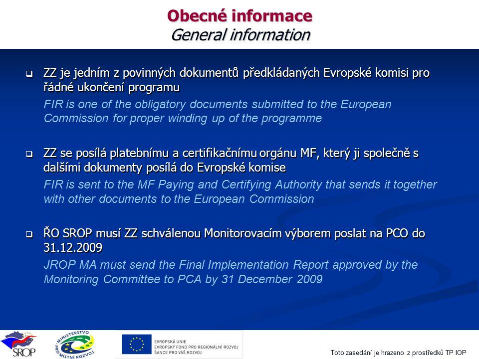 Obecné informace General information