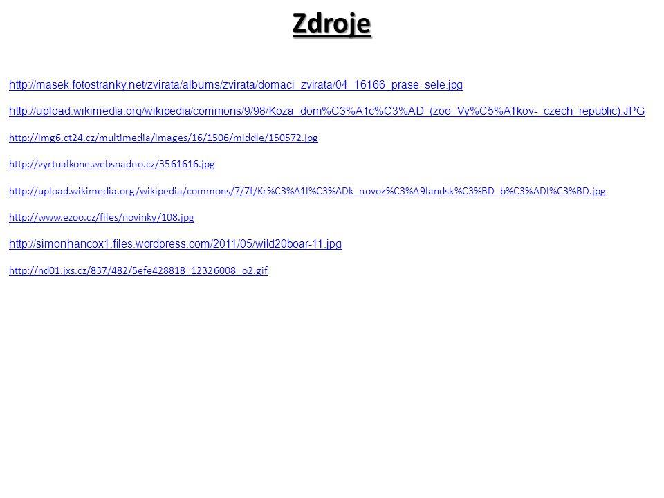 Zdroje http://masek.fotostranky.net/zvirata/albums/zvirata/domaci_zvirata/04_16166_prase_sele.jpg.