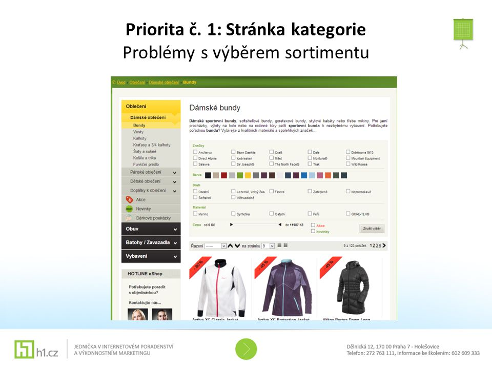 Priorita č. 1: Stránka kategorie Problémy s výběrem sortimentu