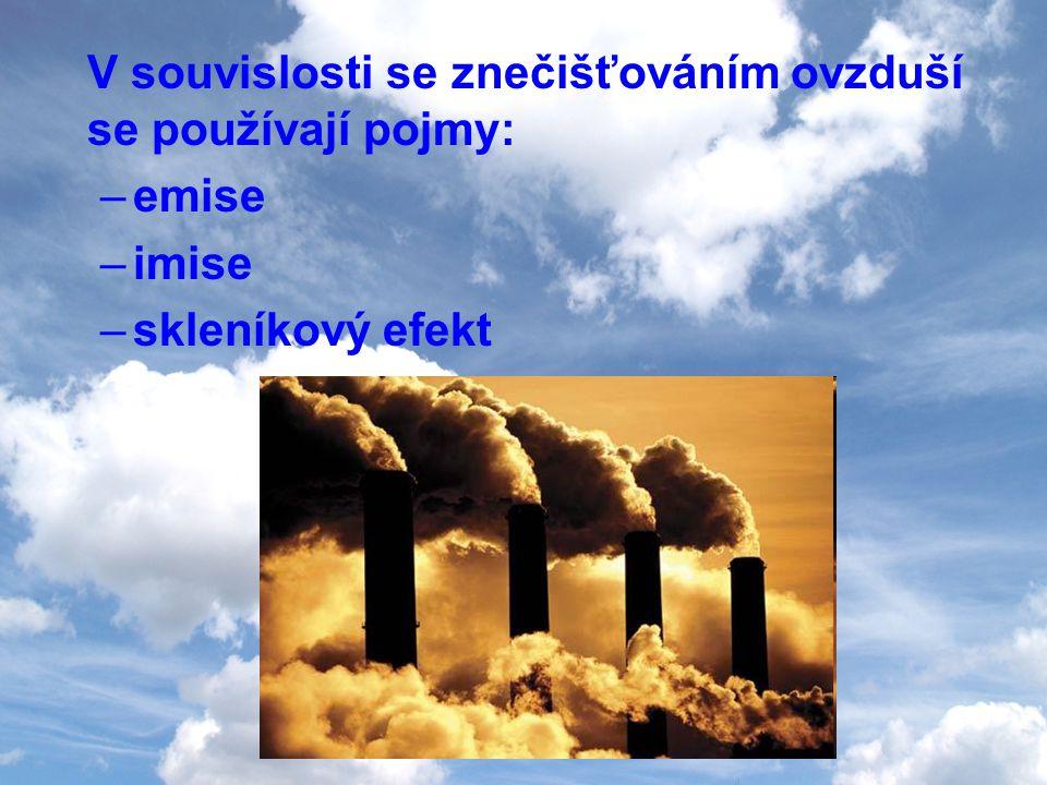 V souvislosti se znečišťováním ovzduší se používají pojmy:
