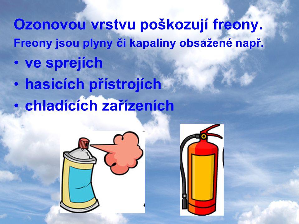 Ozonovou vrstvu poškozují freony. ve sprejích hasicích přístrojích