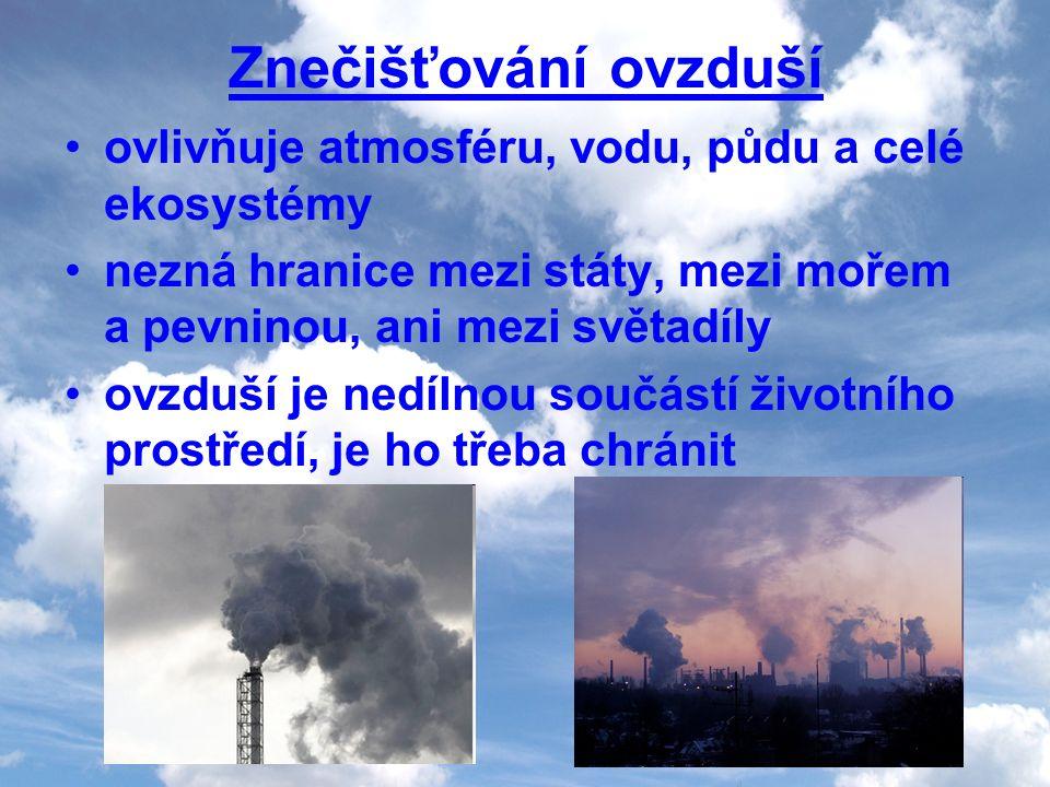 Znečišťování ovzduší ovlivňuje atmosféru, vodu, půdu a celé ekosystémy